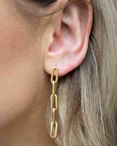 Gouden Chunky chain oorbellen met grove schakel van Goldplated Messing