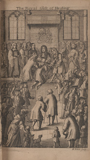 Frontispiece showing King Charles II healing subjects through the royal touch. From: John Browne. Adenochoiradelogia, 1684