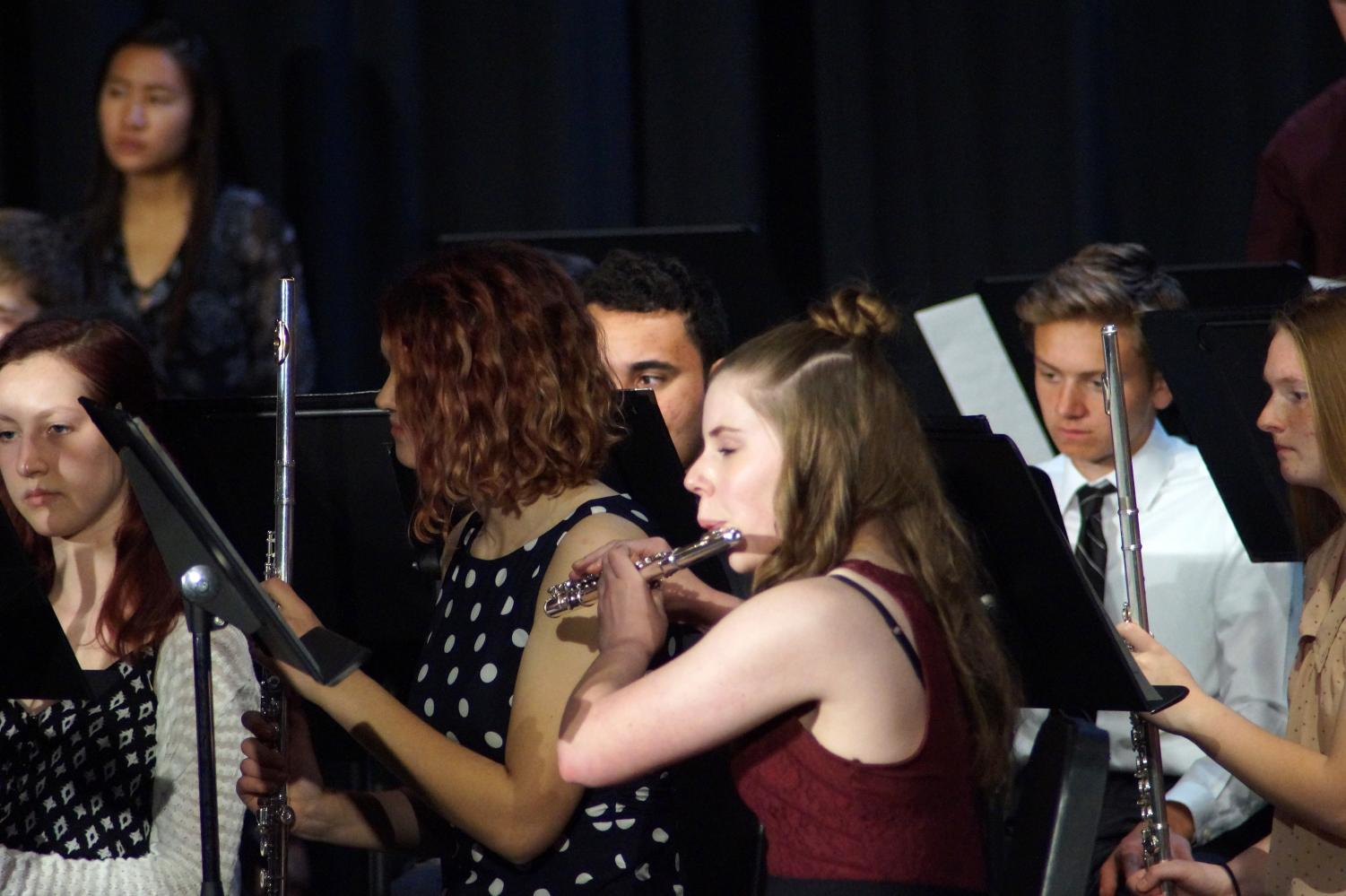 """Sophomore Caroline Zimmerman plays her solo during """"Dialogues."""""""