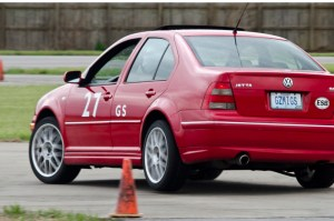 Dick Van Benschoten hustles his No. 27 GS 2005 Volkswagen Jetta GLI through the early elements of Sunday's technical course.