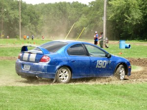 David Capesius hustling his 2004 Dodge Neon SRT through the morning course. -- Photo by Jim Roland, MiDiv SCCA RallyCross Steward.