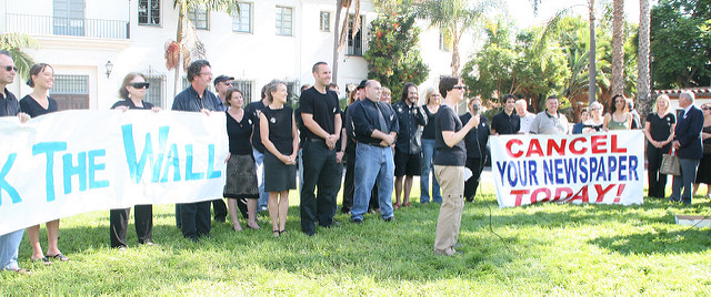Santa Barbara News-Press workers' rally, Summer 2006. Photo by Doc Searls under a Creative Commons License 2.0.