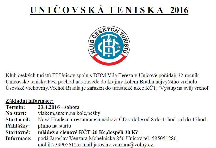 Uničovská teniska - 23.4.2016