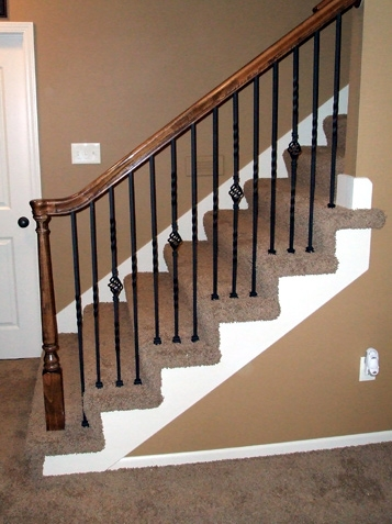 Iron Spindle Gallery Before And After Kc Wood   Replacing Wood Balusters With Iron   Staircase   Stair Spindles   Stair Parts   Handrail   Stair Railing