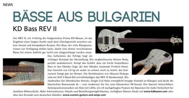 KD Bass Guitar Rev II in Guitar Magazine