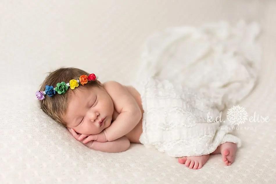 Rainbow baby newborn photos by Colorado Springs newborn photographer K.D. Elise Photography