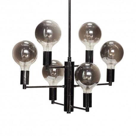 suspension design multiple metal noir 6 ampoules led gris fume hubsch kdesign