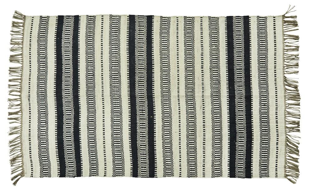 tapis rayures noir blanc ecru jute madam stoltz 120 x 180 cm kdesign