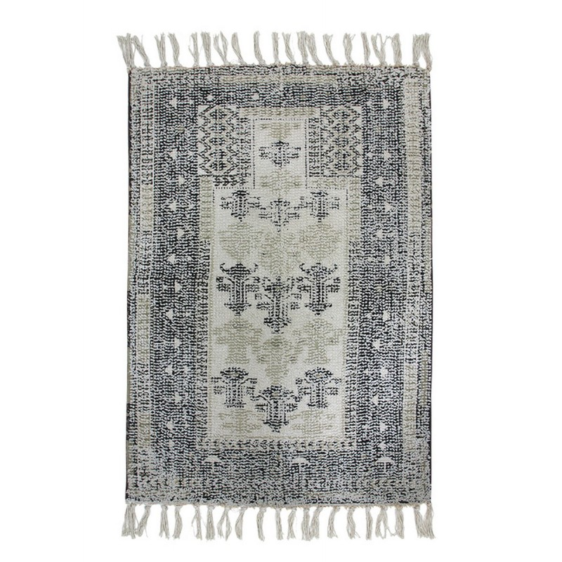 hk living petit tapis imprime oriental noir blanc 60 x 90 cm kdesign