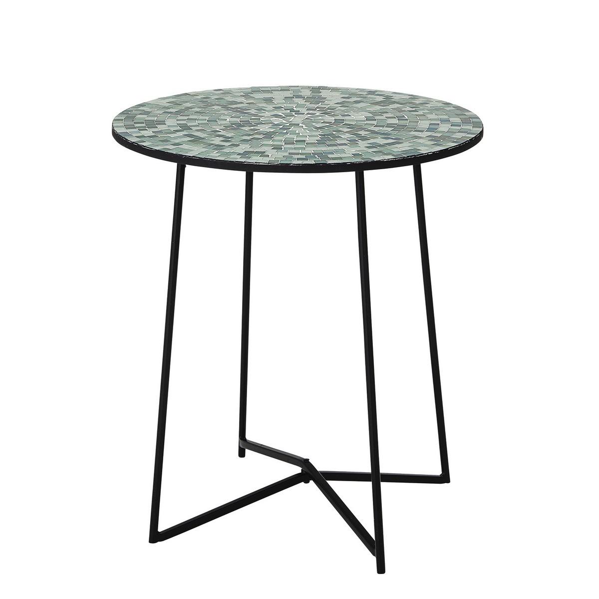 bloomingville table ronde bout de canape mosaique vert sus kdesign