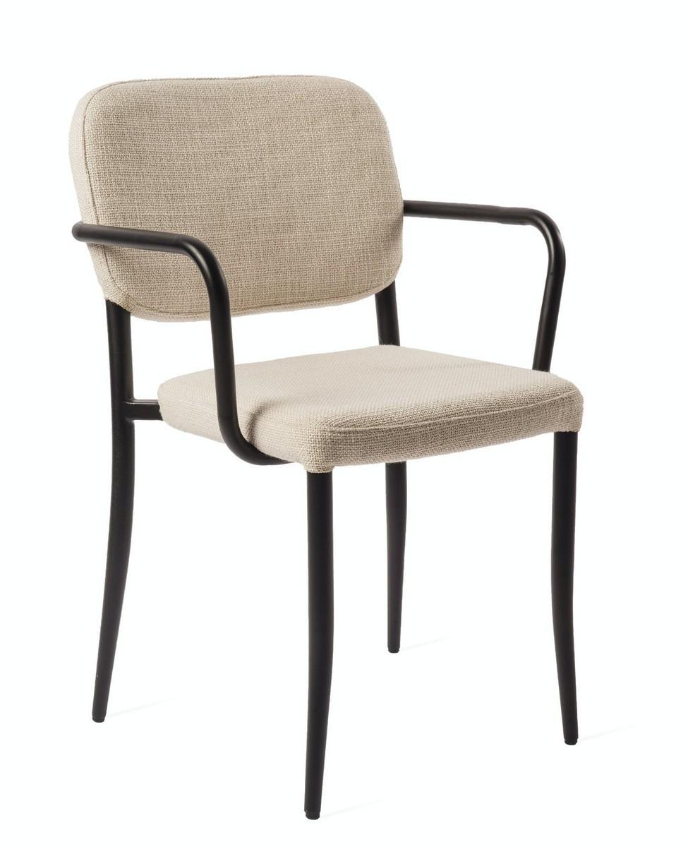 pols potten jamie chaise de salon rembourre beige accoudoir metal noir kdesign