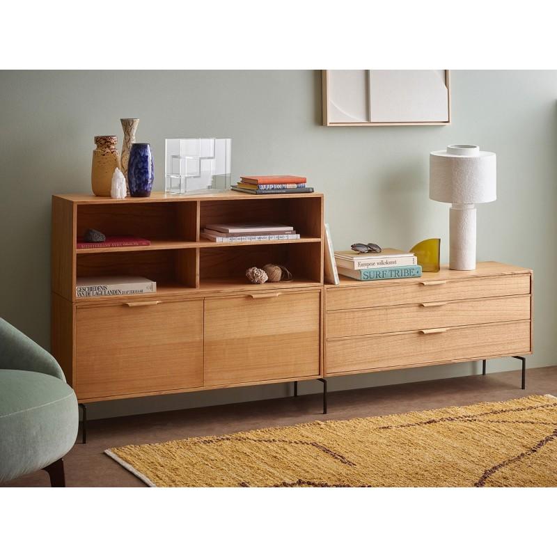 hk living meuble modulaire bois clair 3 tiroirs element e kdesign