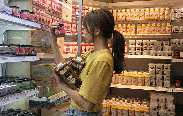 girl in convenience store