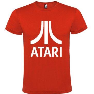 Camiseta para hombre arcade ATARI en color rojo y logo en blanco