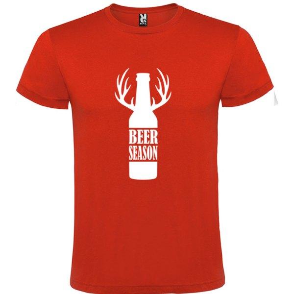 Camiseta para hombre Beer Season color rojo