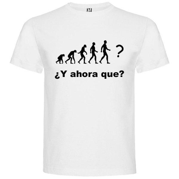 Camiseta hombre evolución blanco logo negro