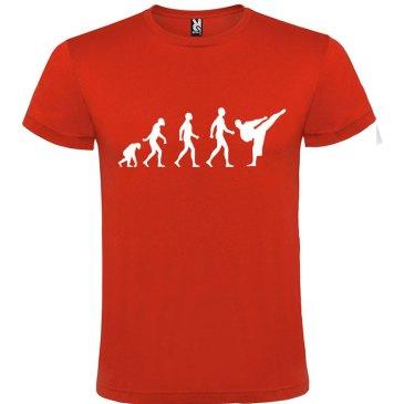 Camiseta hombre evolución karate Roja logo Blanco