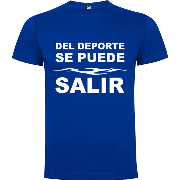 Camiseta divertida del deporte se sale para hombre color Azul royal logo Blanco