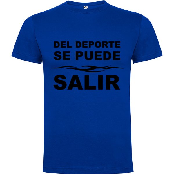 Camiseta divertida del deporte se sale para hombre color Azul royal logo Negro