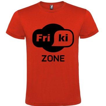 Camiseta hombre evolución Friki Zone Rojo logo Negro