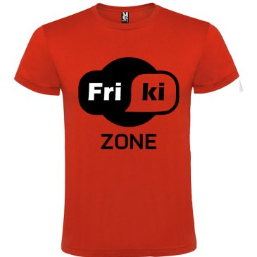 Camisetas para Frikis - friki zone en color rojo y logo en negro