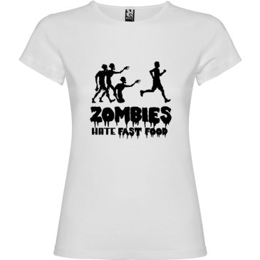 Camiseta para mujer divertida zombies odian la comida rápida en color blanco