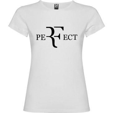 Camiseta para mujer perfect en color blanco y logo en negro