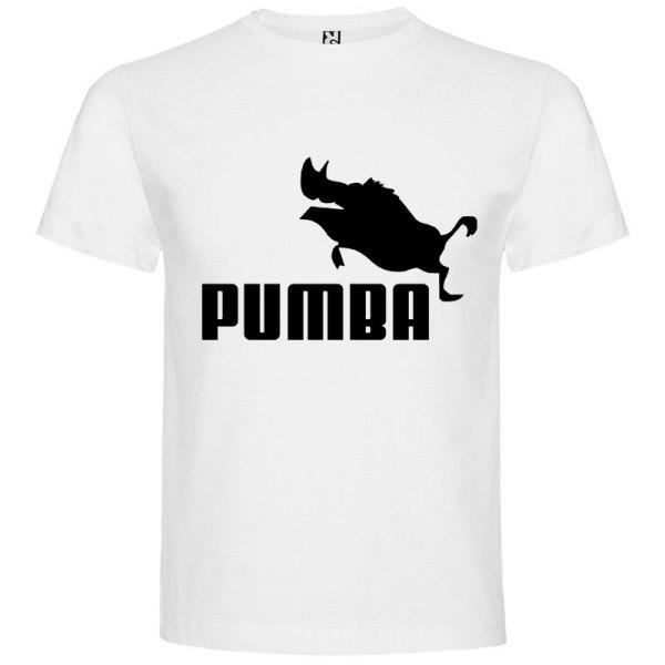 Camiseta hombre divertida PUMBA en blanco