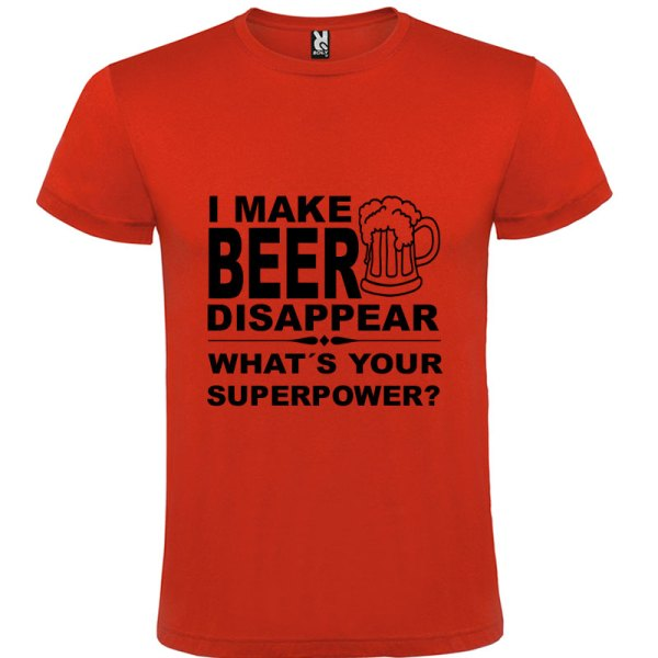Camiseta para hombre divertida I Make Beer Disappear What´s Your Superpower? color Rojo