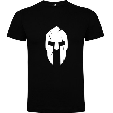 Camiseta Casco Espartano para hombre manga corta en negro