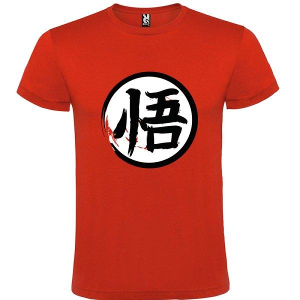 Camiseta para hombre y niños Dragón Ball kanji Go en color Rojo