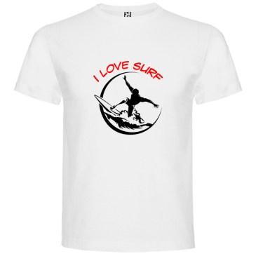 Camiseta surfera para hombre I Love Surf en color Blanco