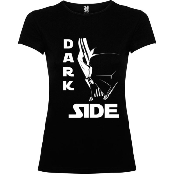 T-Shirt para mujer Dark Side Máscara en color negro logo en blanco