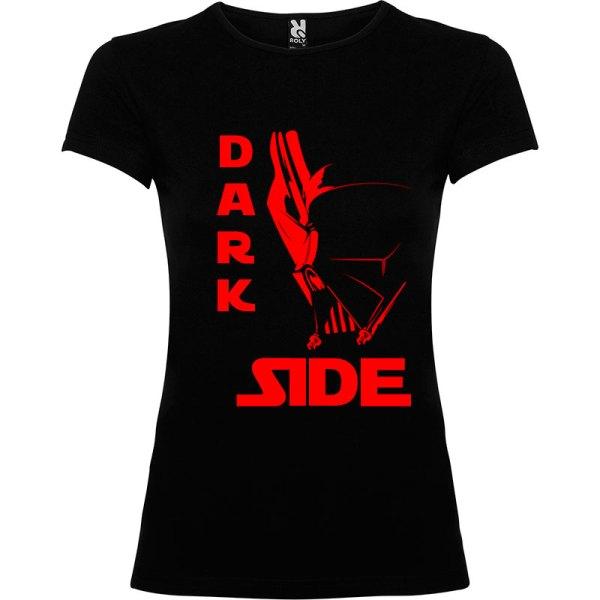 T-Shirt para mujer Dark Side Máscara en color negro logo en rojo