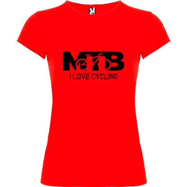 Camiseta para mujer MTB I Love Cycling en color Rojo