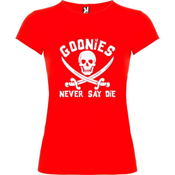 Camiseta para chica Goonies never say die en rojo