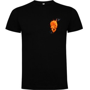 Camiseta manga corta para hombre Skull On Fire en color negro