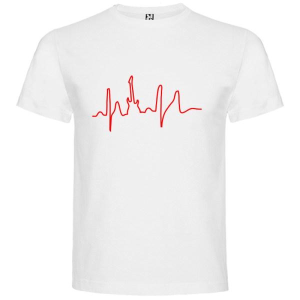 Camiseta para hombre manga corta I Live Rock en color Blanco