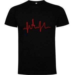 Camiseta para hombre manga corta I Live Rock en color Negro
