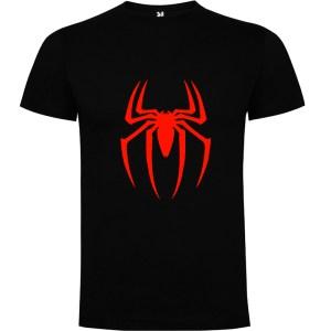 Camiseta para hombre manga corta Spider en color Negro y logo rojo