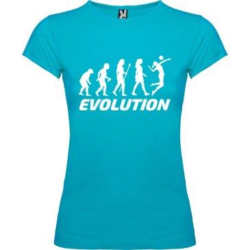Camiseta manga corta para mujer Evolución Voleibol en color Turquesa