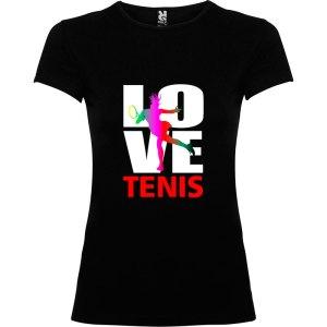 Camiseta para mujer Love Tenis en color negro manga corta