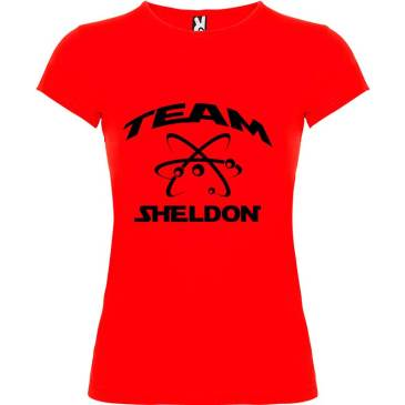 Camiseta para mujer Big Bang Team Sheldon en color Rojo