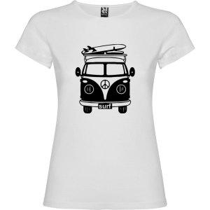 Camiseta para mujer Surf Van Vintage en color Blanco