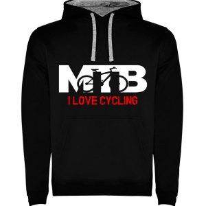 Sudadera para hombre con capucha MTB I Love Cycling en color Negro