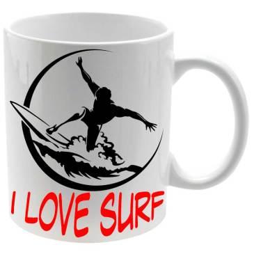 Taza cerámica balnc L love Surf para los surferos