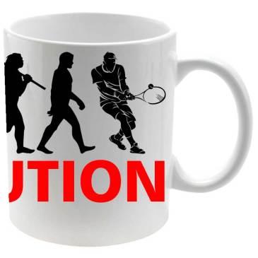 Taza cerámica balnca Evolución Tenis para los tenistas
