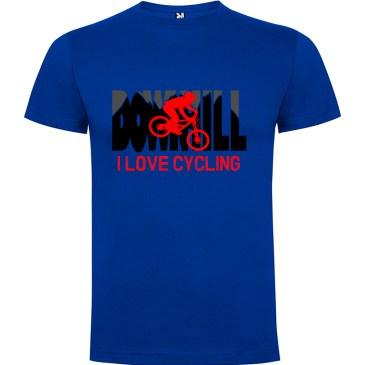 Downhill Camiseta I Love Cycling en color azul royal detalle biker en rojo