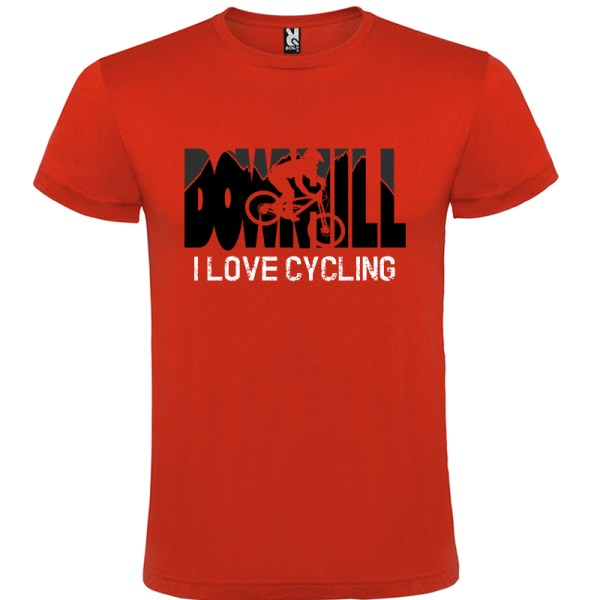 Downhill Camiseta I Love Cycling en color rojo