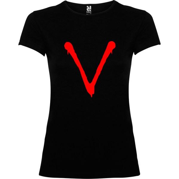 Camiseta para mujer serie tv V en negro logo rojo